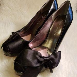 Paris Hilton Shoes - Paris Hilton Peep Toe Platform Heels w/ Satin Bow